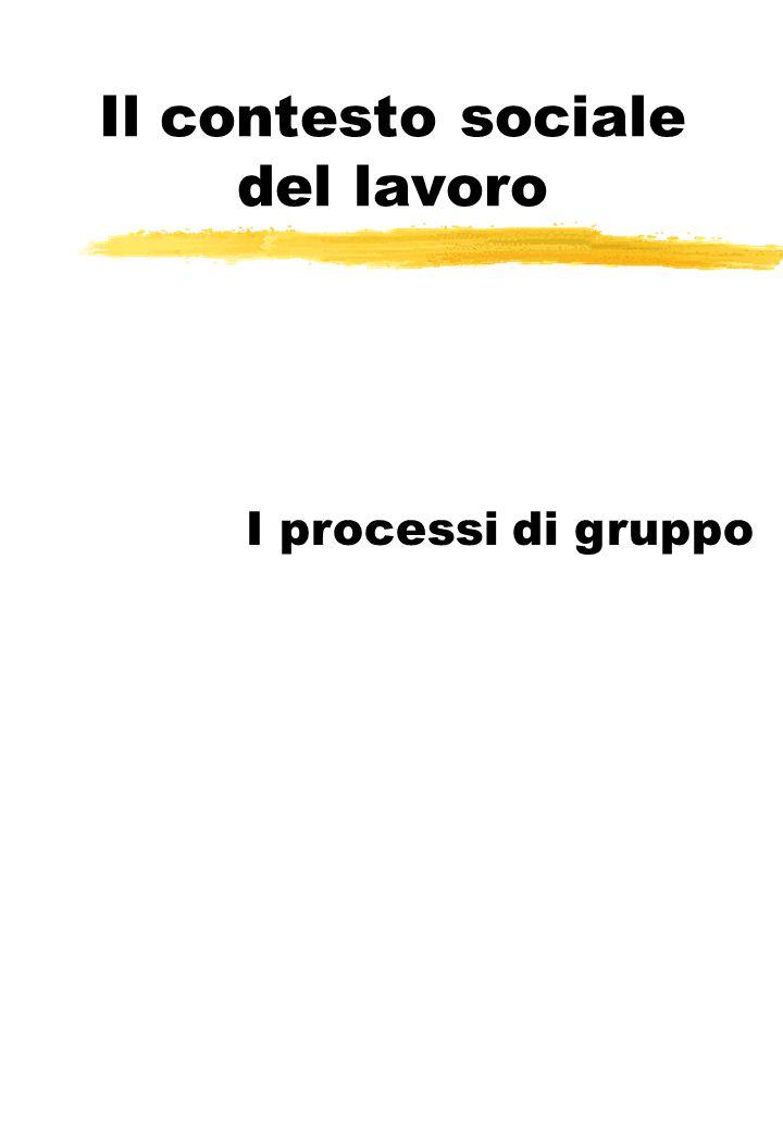 Il contesto sociale del lavoro I processi di gruppo