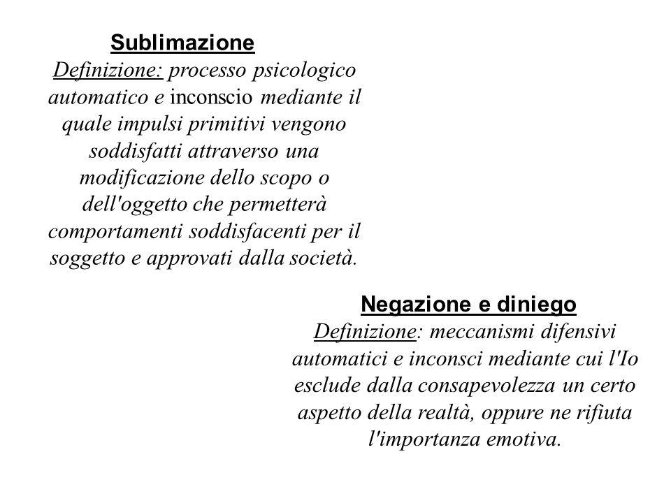 Sublimazione Definizione: processo psicologico automatico e inconscio mediante il quale impulsi primitivi vengono soddisfatti attraverso una modificaz