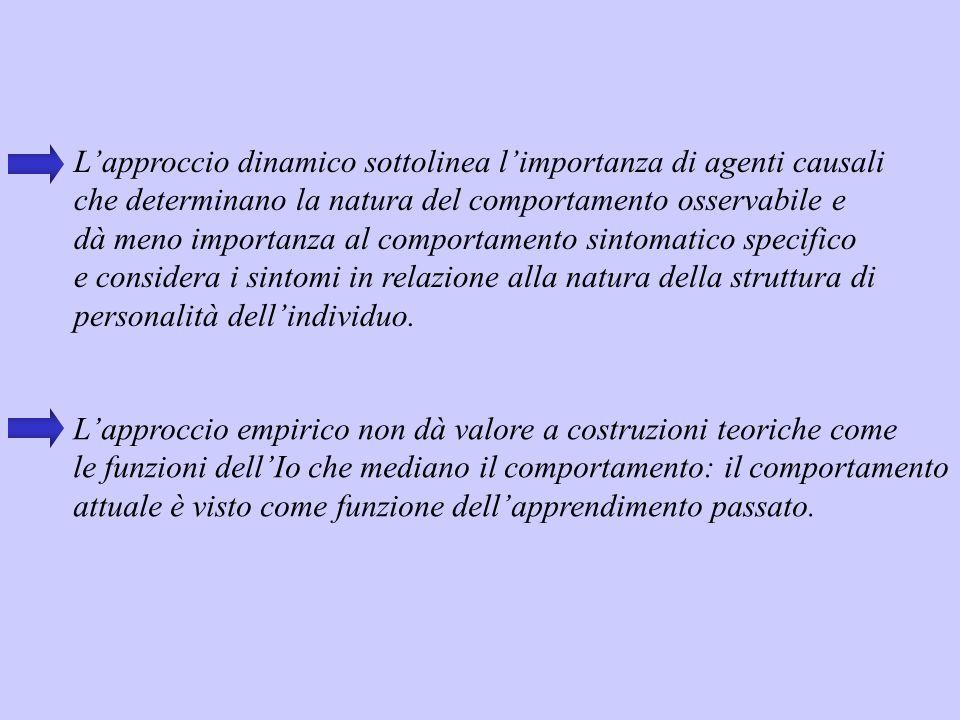 L'approccio dinamico sottolinea l'importanza di agenti causali che determinano la natura del comportamento osservabile e dà meno importanza al comport