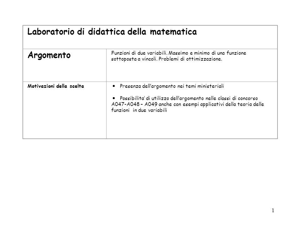 1 Laboratorio di didattica della matematica Argomento Funzioni di due variabili. Massimo e minimo di una funzione sottoposta a vincoli. Problemi di ot