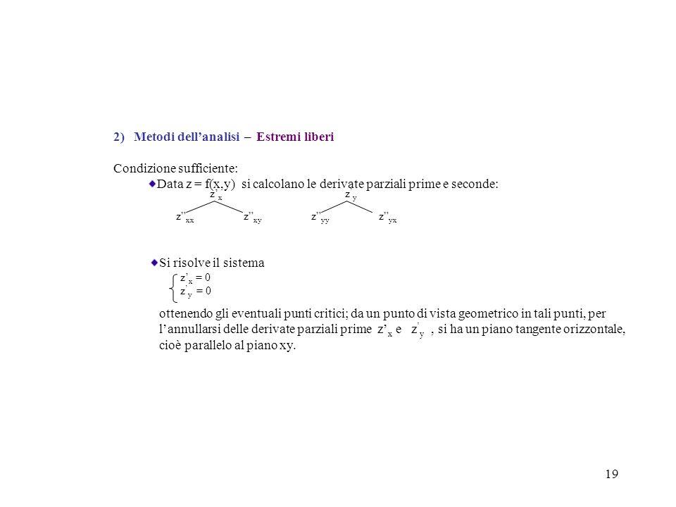 """19 2) Metodi dell'analisi – Estremi liberi Condizione sufficiente: Data z = f(x,y) si calcolano le derivate parziali prime e seconde: z' x z ' y z"""" xx"""
