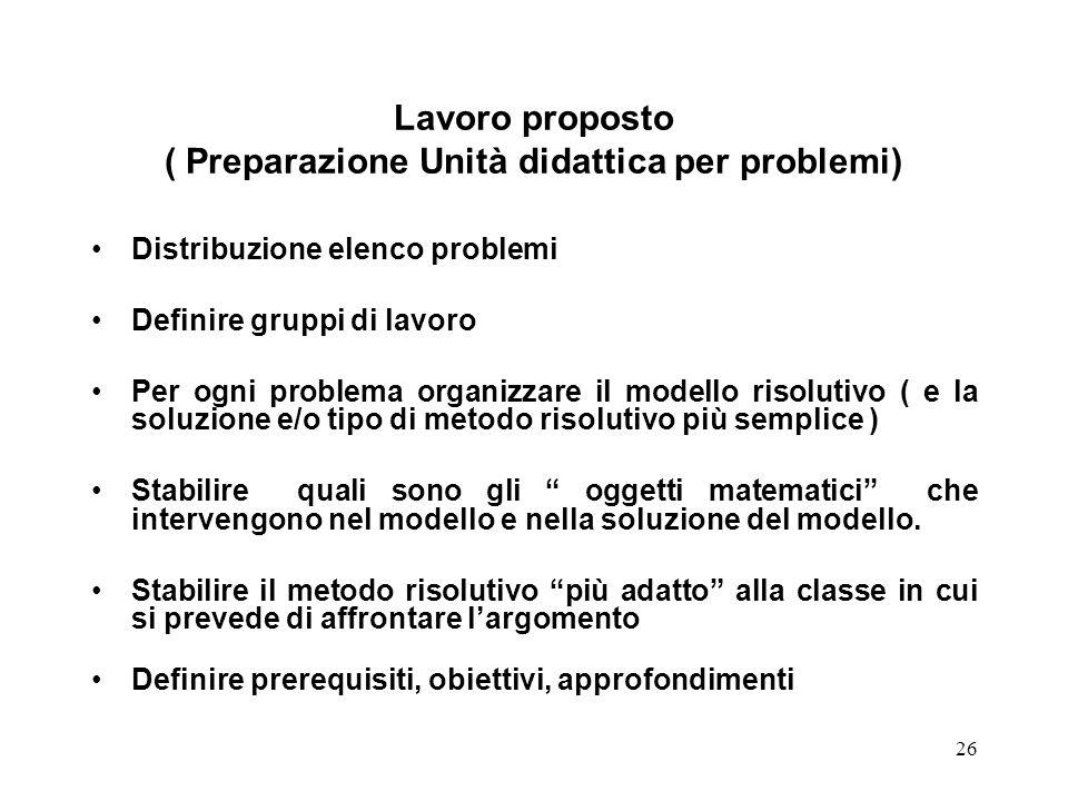 26 Lavoro proposto ( Preparazione Unità didattica per problemi) Distribuzione elenco problemi Definire gruppi di lavoro Per ogni problema organizzare