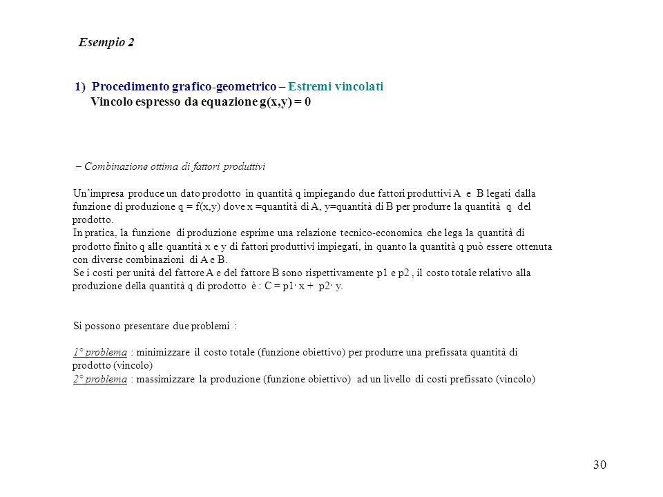 30 – Combinazione ottima di fattori produttivi Un'impresa produce un dato prodotto in quantità q impiegando due fattori produttivi A e B legati dalla