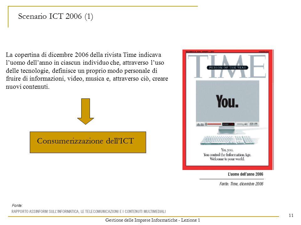 Gestione delle Imprese Informatiche - Lezione 1 11 Scenario ICT 2006 (1) La copertina di dicembre 2006 della rivista Time indicava l'uomo dell'anno in ciascun individuo che, attraverso l'uso delle tecnologie, definisce un proprio modo personale di fruire di informazioni, video, musica e, attraverso ciò, creare nuovi contenuti.