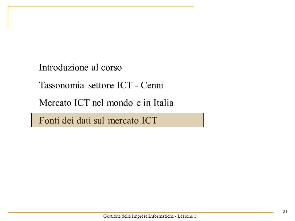 Gestione delle Imprese Informatiche - Lezione 1 31 Introduzione al corso Tassonomia settore ICT - Cenni Mercato ICT nel mondo e in Italia Fonti dei dati sul mercato ICT