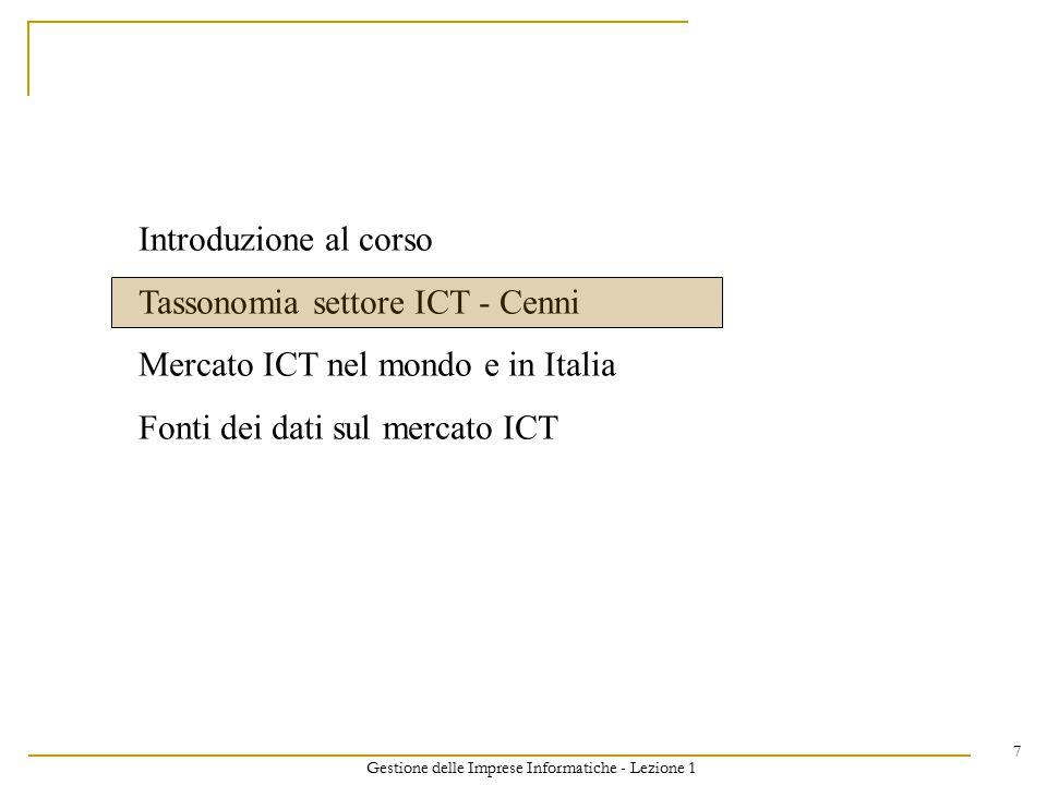 Gestione delle Imprese Informatiche - Lezione 1 8 MERCATO ICT MERCATO ICT MERCATO HARDWARE MERCATO HARDWARE MERCATO SOFTWARE MERCATO SOFTWARE MERCATO SERVIZI IT MERCATO SERVIZI IT Mercato relativo alla vendita di Prodotti HW Fonte: IDC, Sirmi, Gartner, Ovum MERCATO CONNETTIVITÀ MERCATO CONNETTIVITÀ Mercato relativo alla vendita di Licenze SW Mercato relativo alla vendita di Servizi di Trasporto ed Accesso (Dati, Voce, Multimedia) Mercato relativo alla vendita di Servizi / Soluzioni di Information Technology Tassonomia del mercato ICT