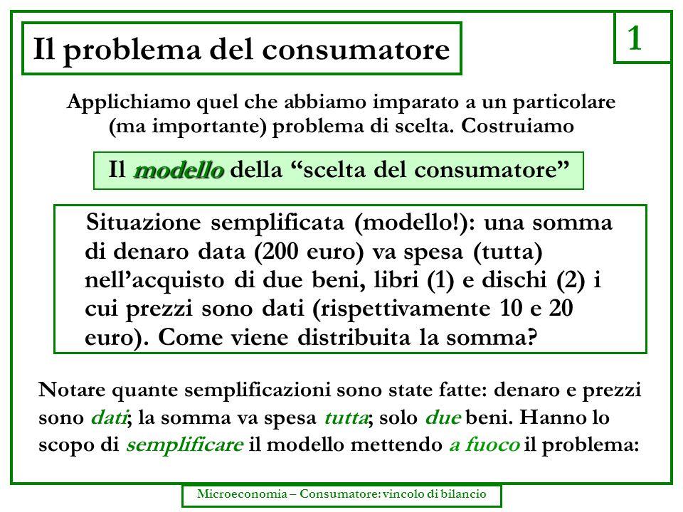 1 Microeconomia – Consumatore: vincolo di bilancio Il problema del consumatore Situazione semplificata (modello!): una somma di denaro data (200 euro)