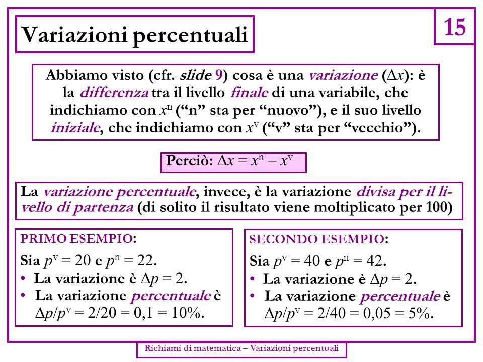 15 Richiami di matematica – Variazioni percentuali Variazioni percentuali Abbiamo visto (cfr. slide 9) cosa è una variazione (  x ): è la differenza