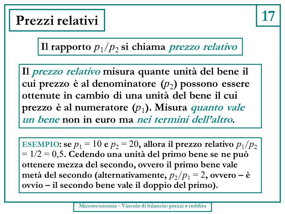 17 Prezzi relativi Il rapporto p 1 / p 2 si chiama prezzo relativo Il prezzo relativo misura quante unità del bene il cui prezzo è al denominatore ( p