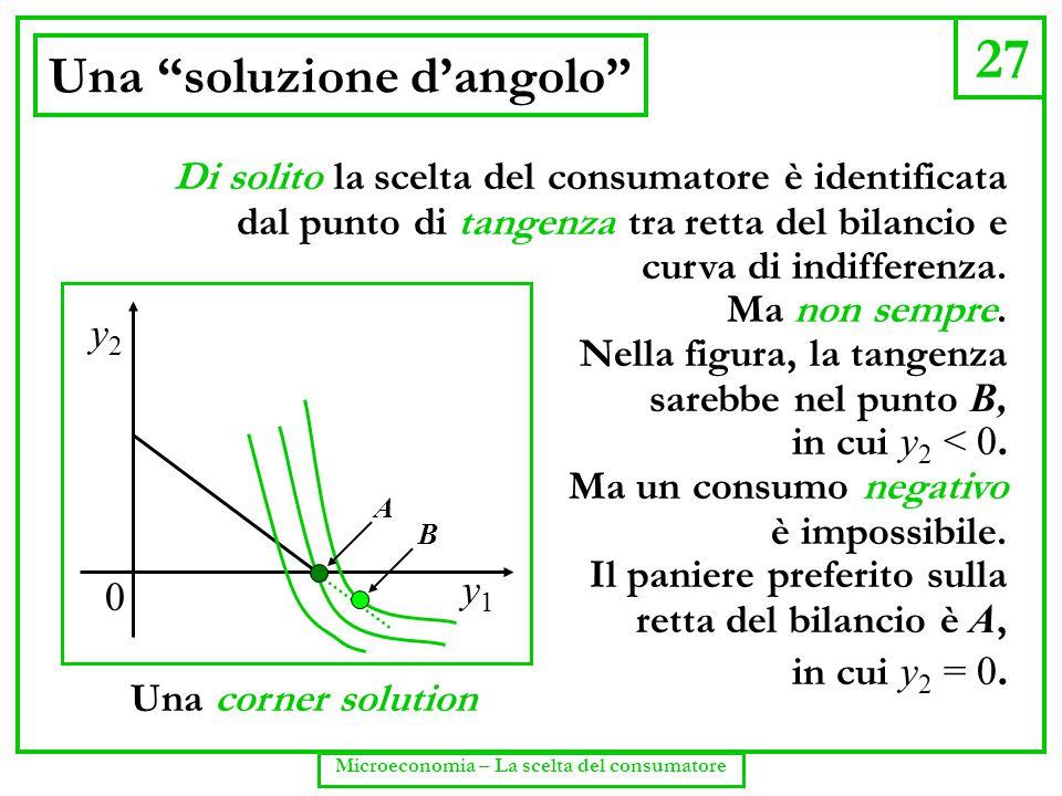 """27 Microeconomia – La scelta del consumatore Una """"soluzione d'angolo"""" y1y1 y2y2 0 B Di solito la scelta del consumatore è identificata dal punto di ta"""