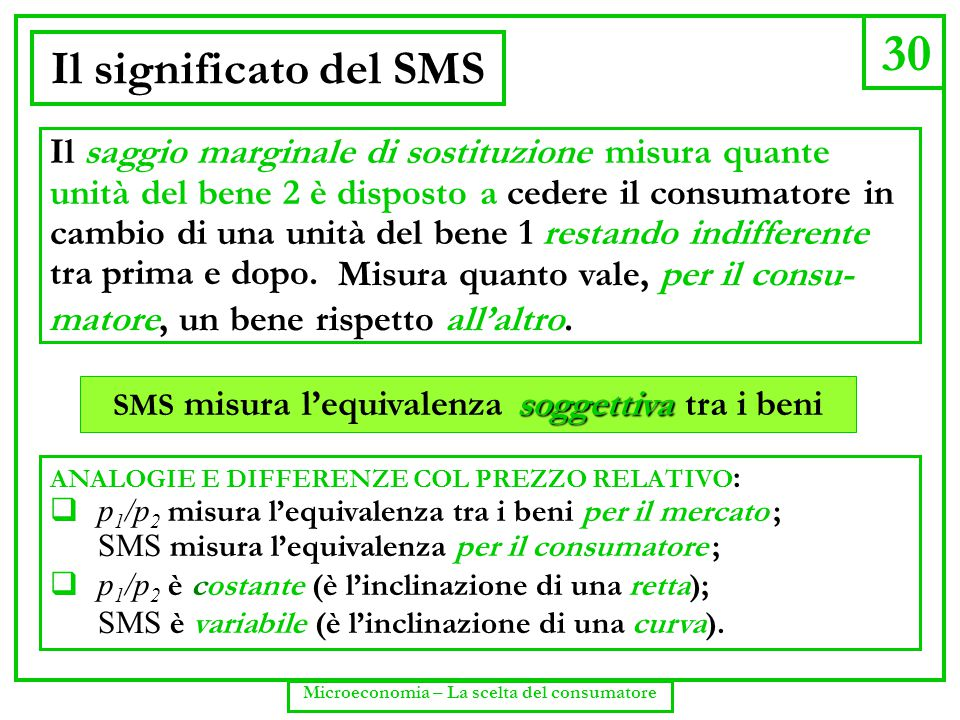 30 Microeconomia – La scelta del consumatore Il significato del SMS Il saggio marginale di sostituzione misura quante unità del bene 2 è disposto a ce