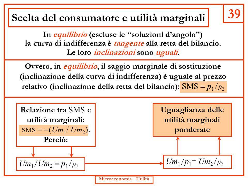 """39 Microeconomia – Utilità Scelta del consumatore e utilità marginali In equilibrio (escluse le """"soluzioni d'angolo"""") la curva di indifferenza è tange"""
