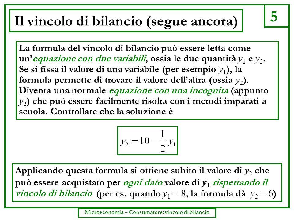 5 Microeconomia – Consumatore: vincolo di bilancio Il vincolo di bilancio (segue ancora) Applicando questa formula si ottiene subito il valore di y 2