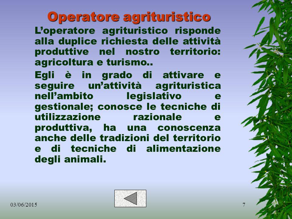 7 Operatore agrituristico L'operatore agrituristico risponde alla duplice richiesta delle attività produttive nel nostro territorio: agricoltura e turismo..