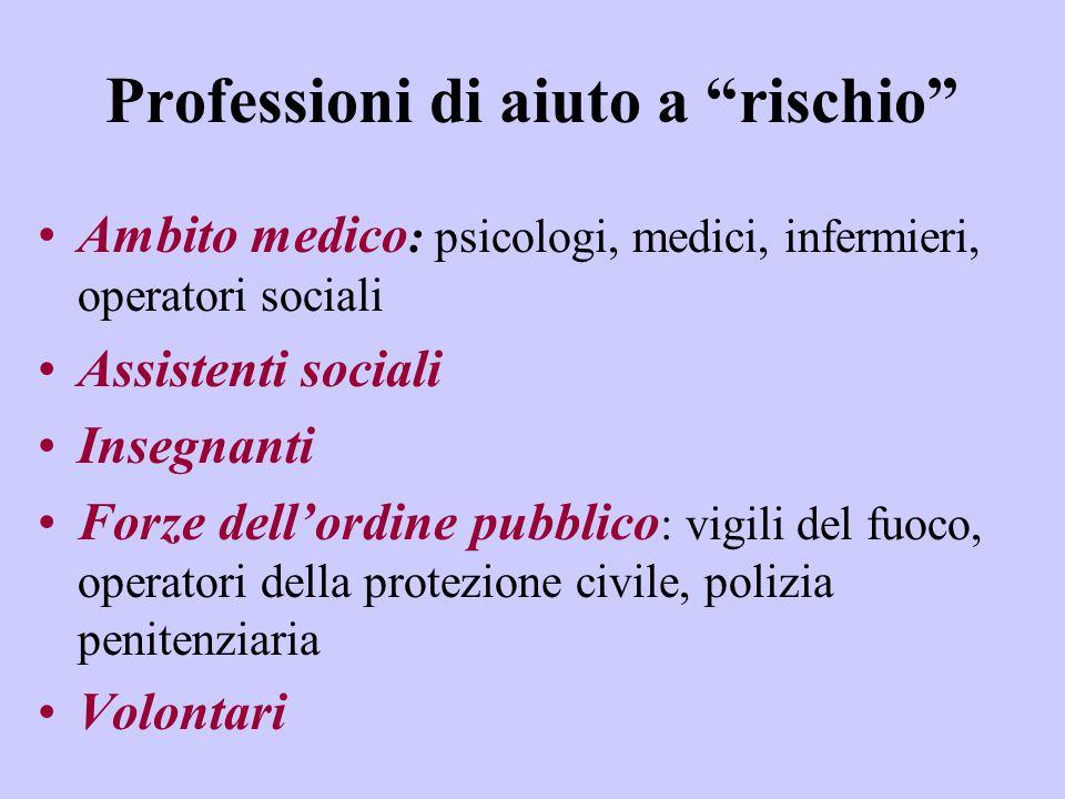 """Professioni di aiuto a """"rischio"""" Ambito medico : psicologi, medici, infermieri, operatori sociali Assistenti sociali Insegnanti Forze dell'ordine pubb"""