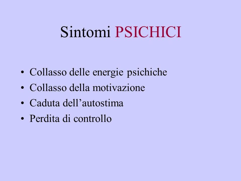 Sintomi PSICHICI Collasso delle energie psichiche Collasso della motivazione Caduta dell'autostima Perdita di controllo