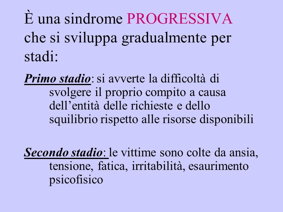 È una sindrome PROGRESSIVA che si sviluppa gradualmente per stadi: Primo stadio: si avverte la difficoltà di svolgere il proprio compito a causa dell'