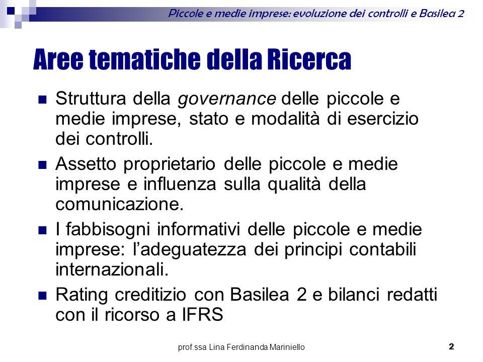 prof.ssa Lina Ferdinanda Mariniello 2 Piccole e medie imprese: evoluzione dei controlli e Basilea 2 Aree tematiche della Ricerca Struttura della governance delle piccole e medie imprese, stato e modalità di esercizio dei controlli.