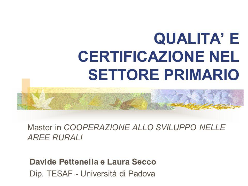 QUALITA' E CERTIFICAZIONE NEL SETTORE PRIMARIO Davide Pettenella e Laura Secco Dip. TESAF - Università di Padova Master in COOPERAZIONE ALLO SVILUPPO