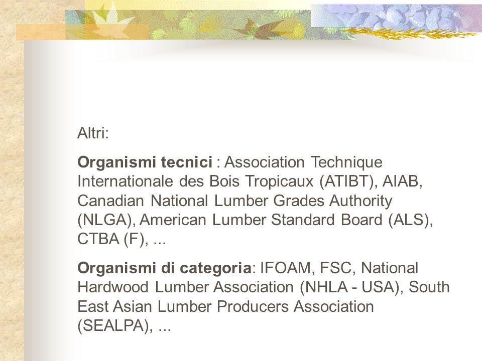 Altri: Organismi tecnici : Association Technique Internationale des Bois Tropicaux (ATIBT), AIAB, Canadian National Lumber Grades Authority (NLGA), Am