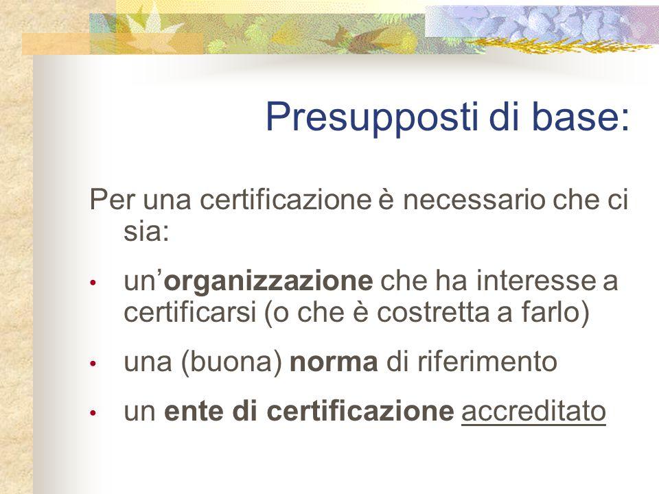 Per una certificazione è necessario che ci sia: un'organizzazione che ha interesse a certificarsi (o che è costretta a farlo) una (buona) norma di riferimento un ente di certificazione accreditato Presupposti di base: