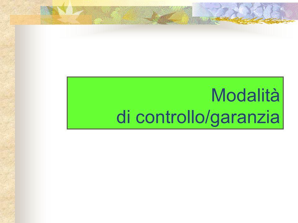 Modalità di controllo/garanzia
