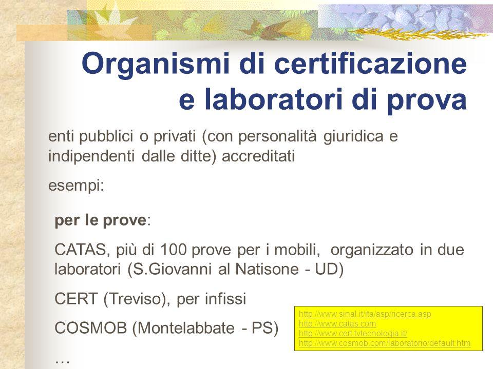 Organismi di certificazione e laboratori di prova enti pubblici o privati (con personalità giuridica e indipendenti dalle ditte) accreditati esempi: p