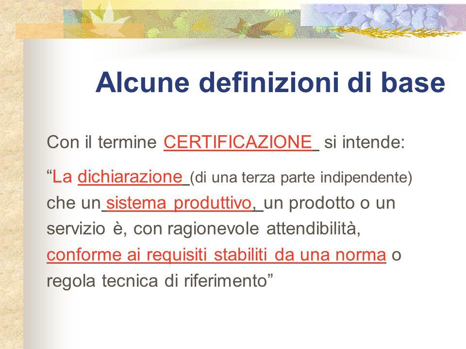 Alcune definizioni di base Con il termine CERTIFICAZIONE si intende: La dichiarazione (di una terza parte indipendente) che un sistema produttivo, un prodotto o un servizio è, con ragionevole attendibilità, conforme ai requisiti stabiliti da una norma o regola tecnica di riferimento