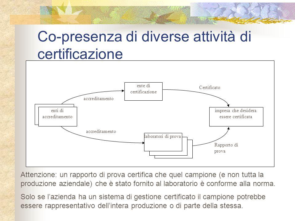 Co-presenza di diverse attività di certificazione ente di certificazione accreditamento Rapporto di prova Certificato impresa che desidera essere cert