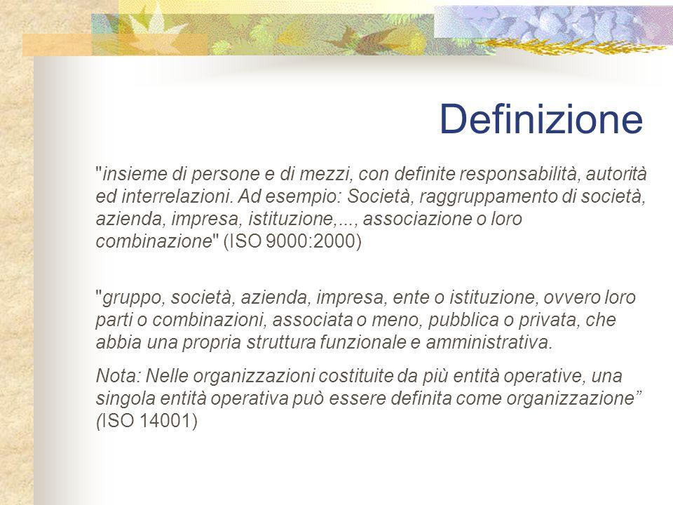 Definizione insieme di persone e di mezzi, con definite responsabilità, autorità ed interrelazioni.