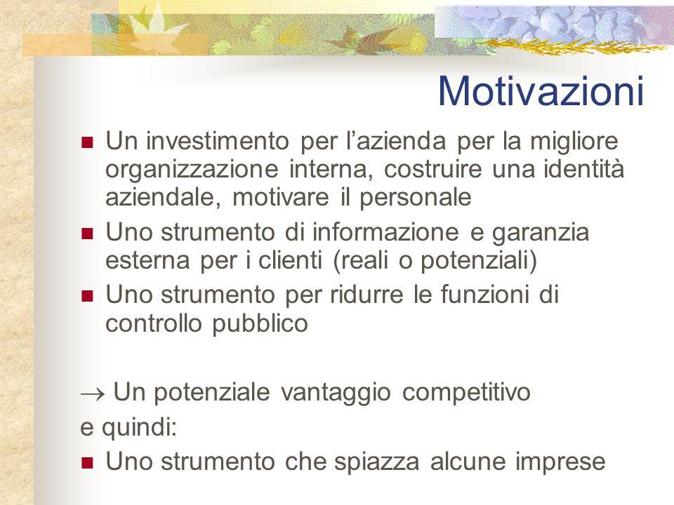 Motivazioni Un investimento per l'azienda per la migliore organizzazione interna, costruire una identità aziendale, motivare il personale Uno strument
