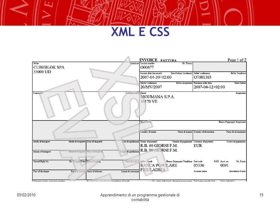 05/02/2010Apprendimento di un programma gestionale di contabilità 15 XML E CSS