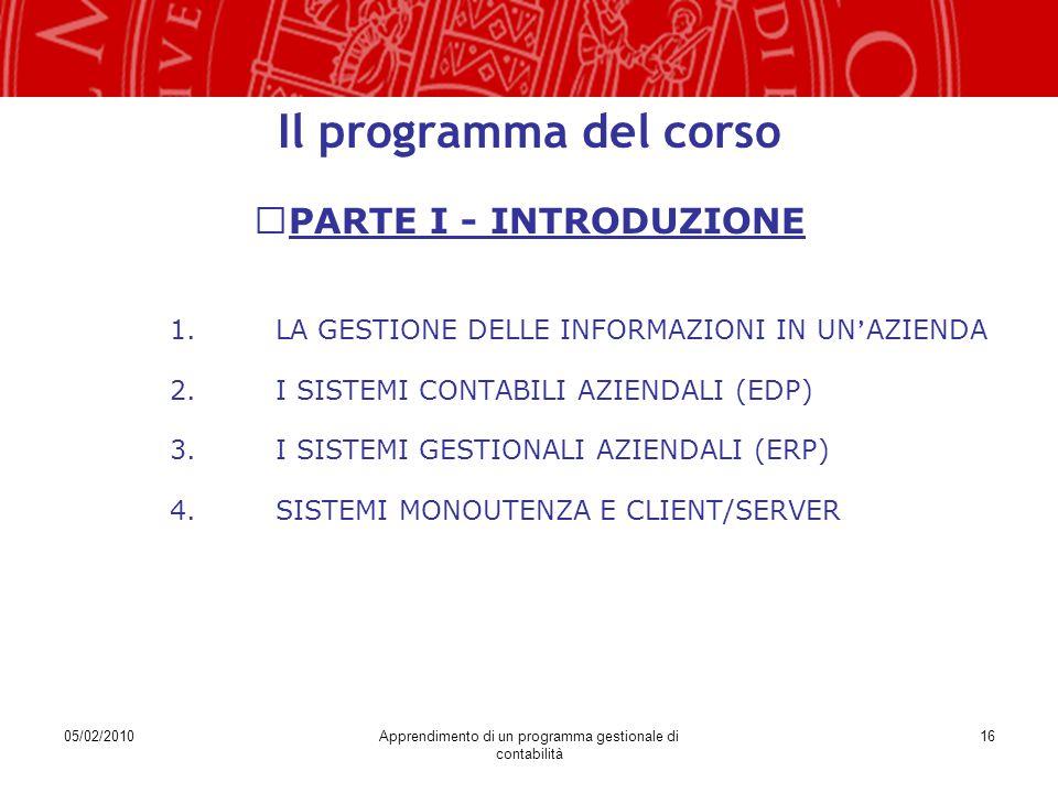 05/02/2010Apprendimento di un programma gestionale di contabilità 16 Il programma del corso PARTE I - INTRODUZIONE 1.LA GESTIONE DELLE INFORMAZIONI IN UN ' AZIENDA 2.I SISTEMI CONTABILI AZIENDALI (EDP) 3.I SISTEMI GESTIONALI AZIENDALI (ERP) 4.SISTEMI MONOUTENZA E CLIENT/SERVER