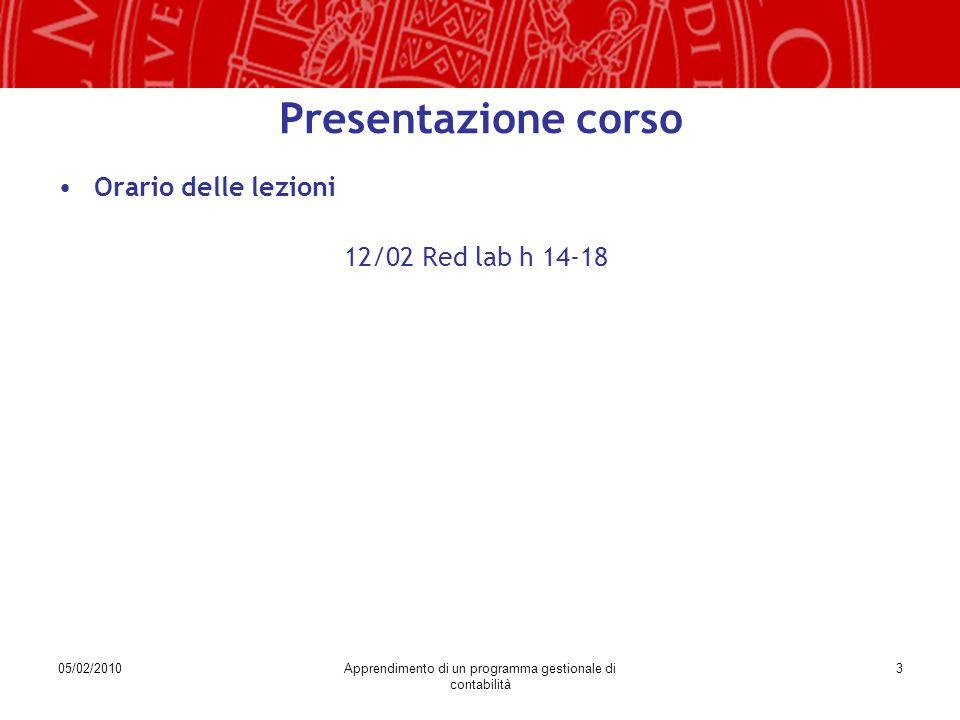 05/02/2010Apprendimento di un programma gestionale di contabilità 3 Presentazione corso Orario delle lezioni 12/02 Red lab h 14-18