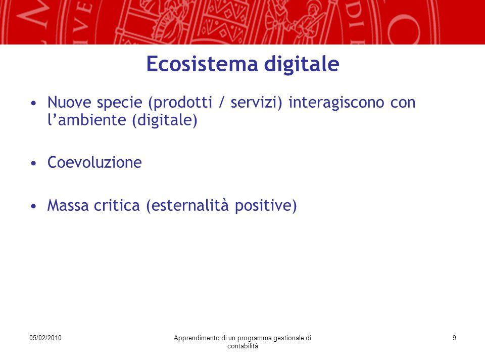 05/02/2010Apprendimento di un programma gestionale di contabilità 9 Ecosistema digitale Nuove specie (prodotti / servizi) interagiscono con l'ambiente (digitale) Coevoluzione Massa critica (esternalità positive)