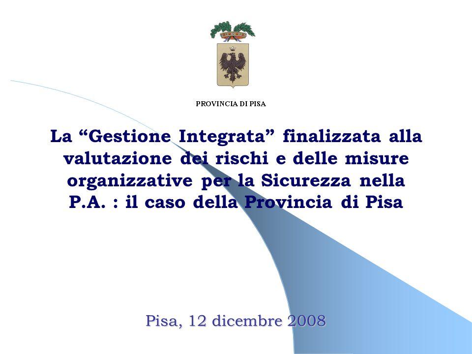 Pisa, 12 dicembre 2008 La Gestione Integrata finalizzata alla valutazione dei rischi e delle misure organizzative per la Sicurezza nella P.A.