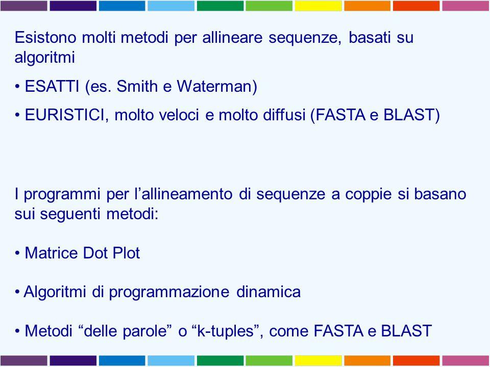 Esistono molti metodi per allineare sequenze, basati su algoritmi ESATTI (es. Smith e Waterman) EURISTICI, molto veloci e molto diffusi (FASTA e BLAST