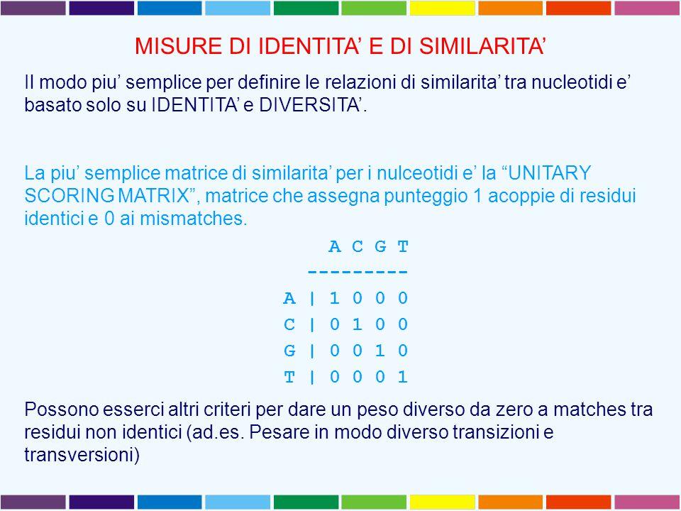 MISURE DI IDENTITA' E DI SIMILARITA' Il modo piu' semplice per definire le relazioni di similarita' tra nucleotidi e' basato solo su IDENTITA' e DIVERSITA'.