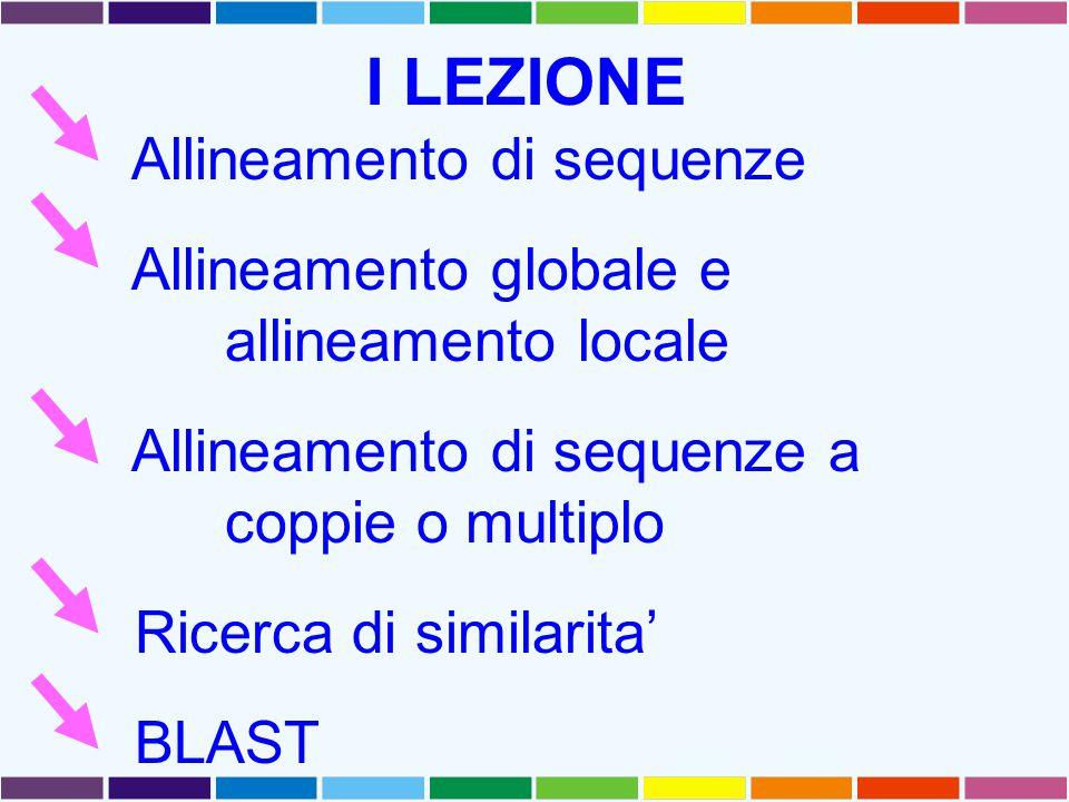 I LEZIONE Allineamento di sequenze Allineamento globale e allineamento locale Allineamento di sequenze a coppie o multiplo Ricerca di similarita' BLAS