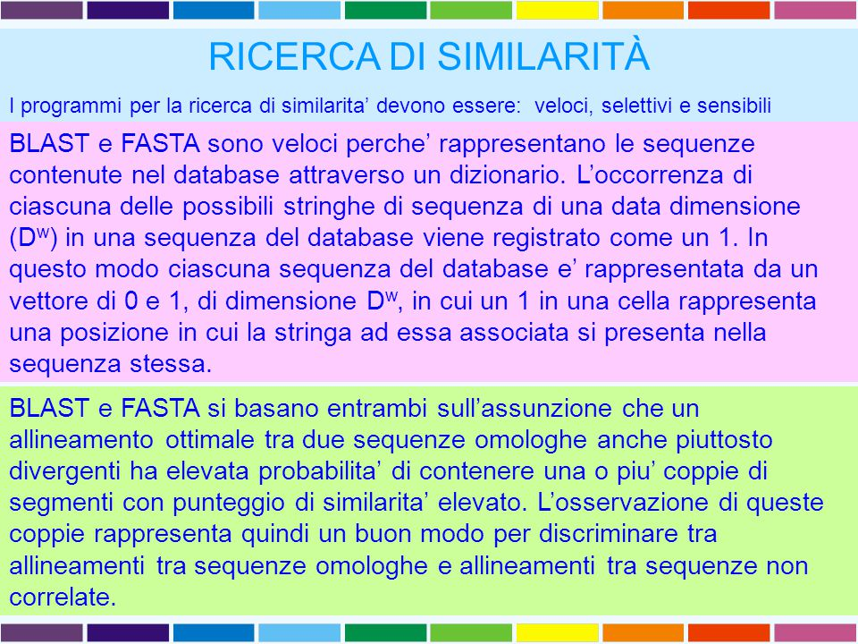 BLAST Basic Local Alignment Search Tool (Altschul 1990) L' algoritmo di BLAST e' euristico e opera: 1tagliando le sequenze da comparare in piccoli pezzi (parole) 2Ignorando tutte le coppie di parole (sequenza query/database) la cui comparazione da' un punteggio inferiore ad un limite fissato 3Cercando di estendere tutte le hits rimanenti sino a che l'allineamento locale raggiunge un certo punteggio Dati una SEQUENZA QUERY ed un DATABASE DI SEQUENZE, BLAST ricerca nel database parole di lunghezza almeno W con un punteggio di similarita' di almeno T una volta allineate con la sequenza query (HSP, High Scoring Pairs).