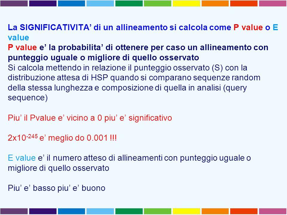 La SIGNIFICATIVITA' di un allineamento si calcola come P value o E value P value e' la probabilita' di ottenere per caso un allineamento con punteggio
