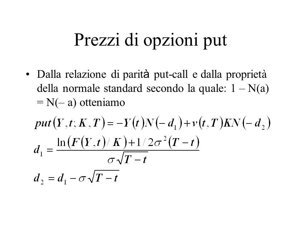 Prezzi di opzioni put Dalla relazione di parit à put-call e dalla proprietà della normale standard secondo la quale: 1 – N(a) = N(– a) otteniamo