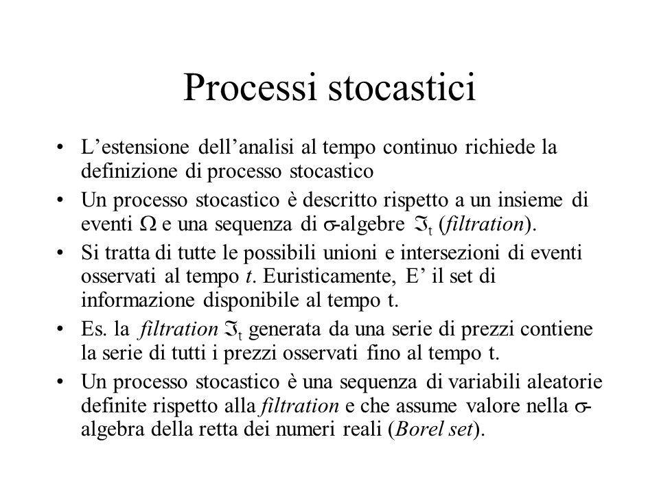 Processi stocastici L'estensione dell'analisi al tempo continuo richiede la definizione di processo stocastico Un processo stocastico è descritto rispetto a un insieme di eventi  e una sequenza di  -algebre  t (filtration).