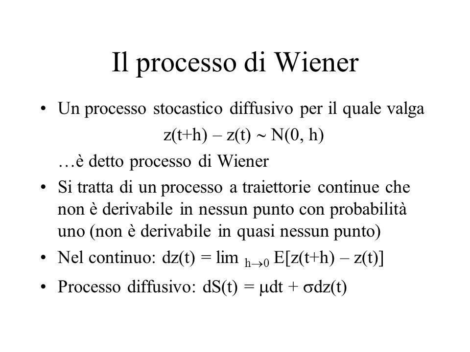 Il processo di Wiener Un processo stocastico diffusivo per il quale valga z(t+h) – z(t)  N(0, h) …è detto processo di Wiener Si tratta di un processo a traiettorie continue che non è derivabile in nessun punto con probabilità uno (non è derivabile in quasi nessun punto) Nel continuo: dz(t) = lim h  0 E[z(t+h) – z(t)] Processo diffusivo: dS(t) =  dt +  dz(t)