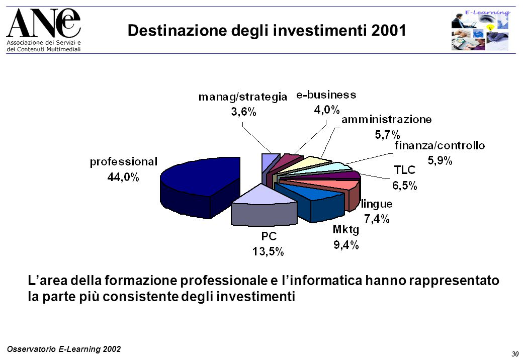 30 Osservatorio E-Learning 2002 Destinazione degli investimenti 2001 L'area della formazione professionale e l'informatica hanno rappresentato la parte più consistente degli investimenti