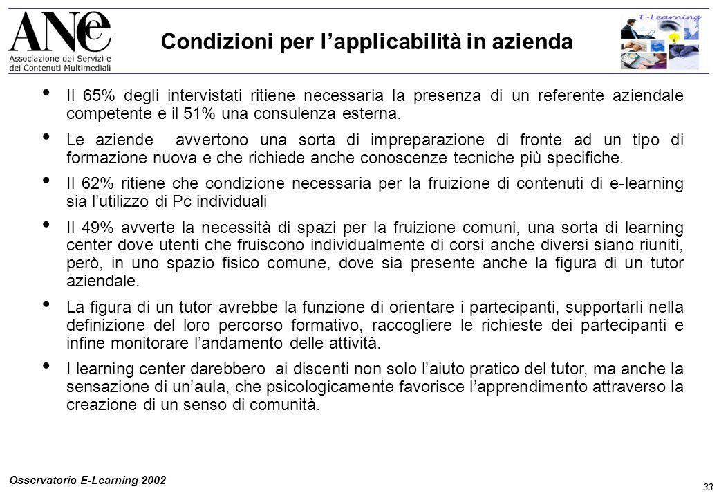 33 Osservatorio E-Learning 2002 Condizioni per l'applicabilità in azienda Il 65% degli intervistati ritiene necessaria la presenza di un referente aziendale competente e il 51% una consulenza esterna.