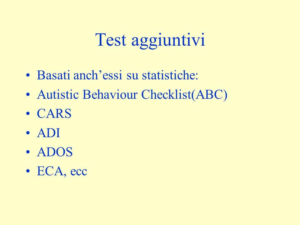 Test aggiuntivi Basati anch'essi su statistiche: Autistic Behaviour Checklist(ABC) CARS ADI ADOS ECA, ecc