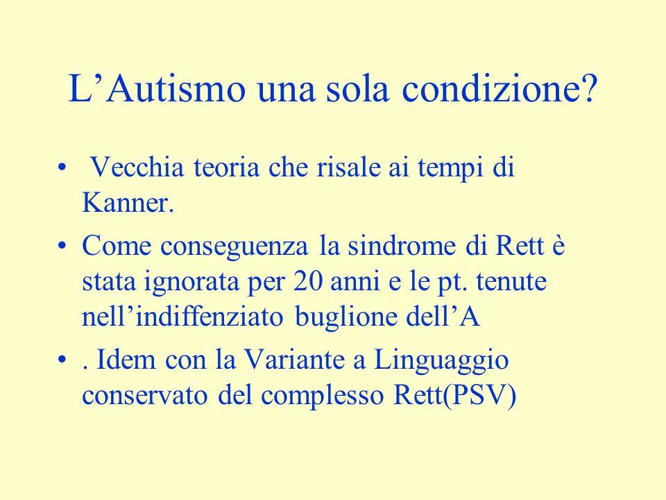 L'Autismo una sola condizione? Vecchia teoria che risale ai tempi di Kanner. Come conseguenza la sindrome di Rett è stata ignorata per 20 anni e le pt