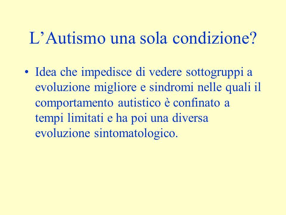 L'Autismo una sola condizione? Idea che impedisce di vedere sottogruppi a evoluzione migliore e sindromi nelle quali il comportamento autistico è conf