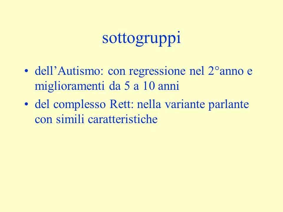 sottogruppi dell'Autismo: con regressione nel 2°anno e miglioramenti da 5 a 10 anni del complesso Rett: nella variante parlante con simili caratterist